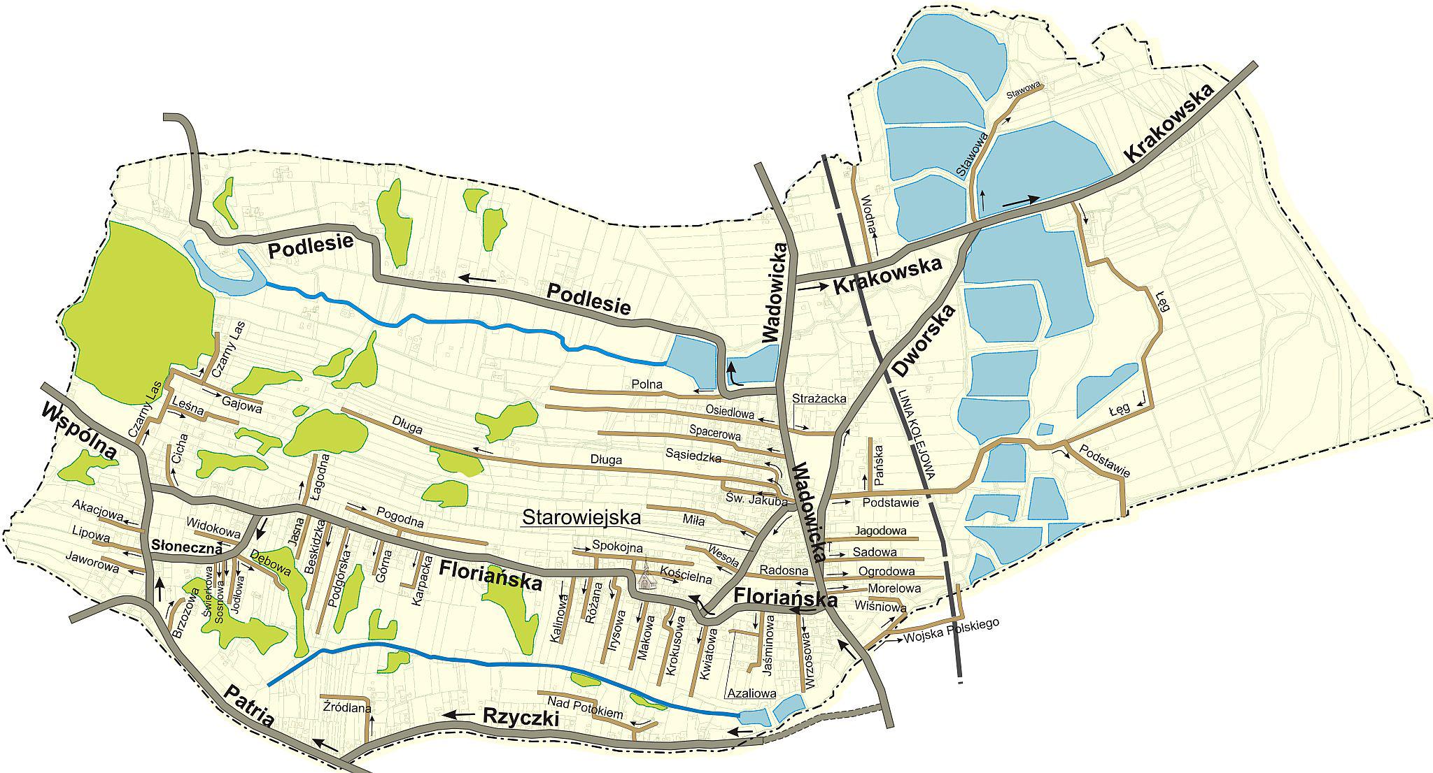 Nazewnictwo ulic w sołectwach gminy Tomice - mapy