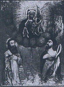 Adoracja Matki Boskiej Częstochowskiej, obraz olejny na desce, wys. 63 cm