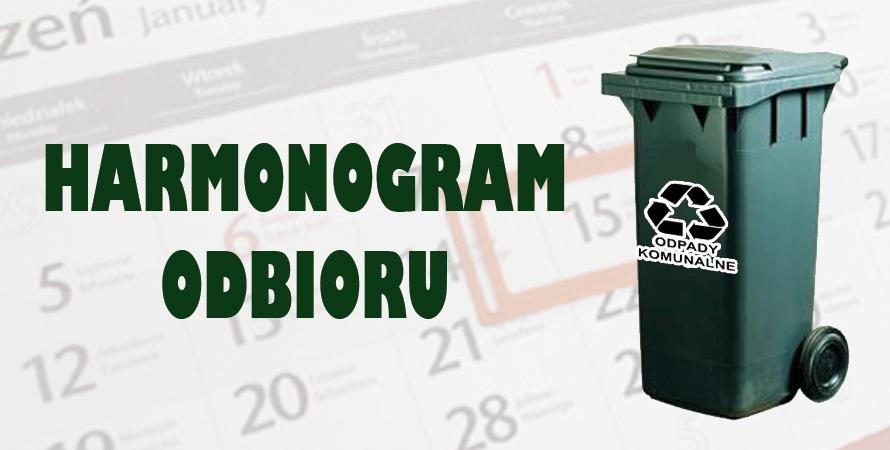 Harmonogram odbioru odpadów komunalnych – I kwartał 2021
