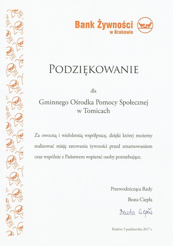 Gminny Ośrodek Pomocy Społecznej w Tomicach z podziękowaniami