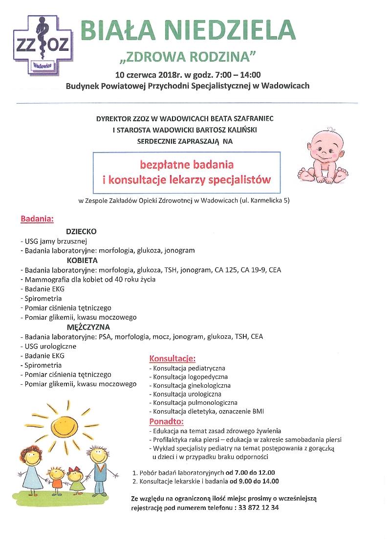 """Zaproszenie na """"Białą niedzielę"""" do Wadowic"""