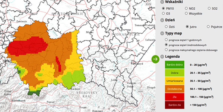 Ostrzeżenie – przekroczenie poziomu informowania dla pyłu zawieszonego PM10 w powietrzu