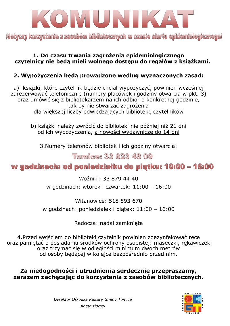 Komunikat Ośrodka Kultury Gminy Tomice
