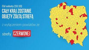Od soboty (10.10) żółta strefa w całym kraju