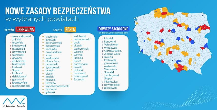 Od 3 października powiat wadowicki w żółtej strefie